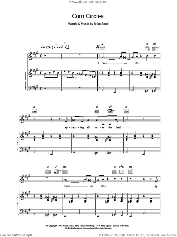 Corn Circles sheet music for voice, piano or guitar by The Waterboys and Mike Scott, intermediate. Score Image Preview.