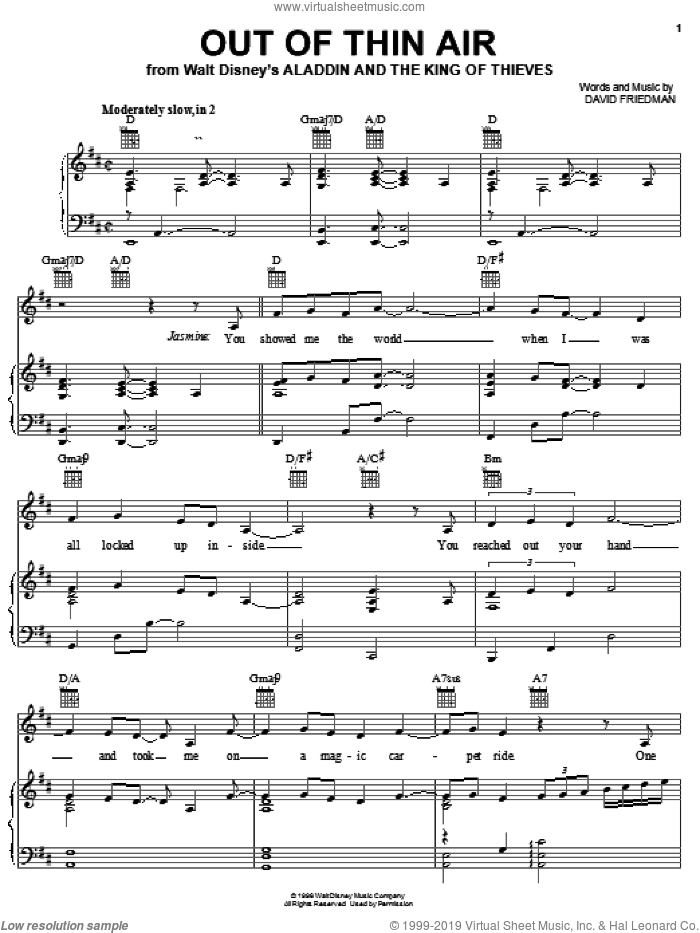 Out Of Thin Air sheet music for voice, piano or guitar by David Friedman, intermediate. Score Image Preview.