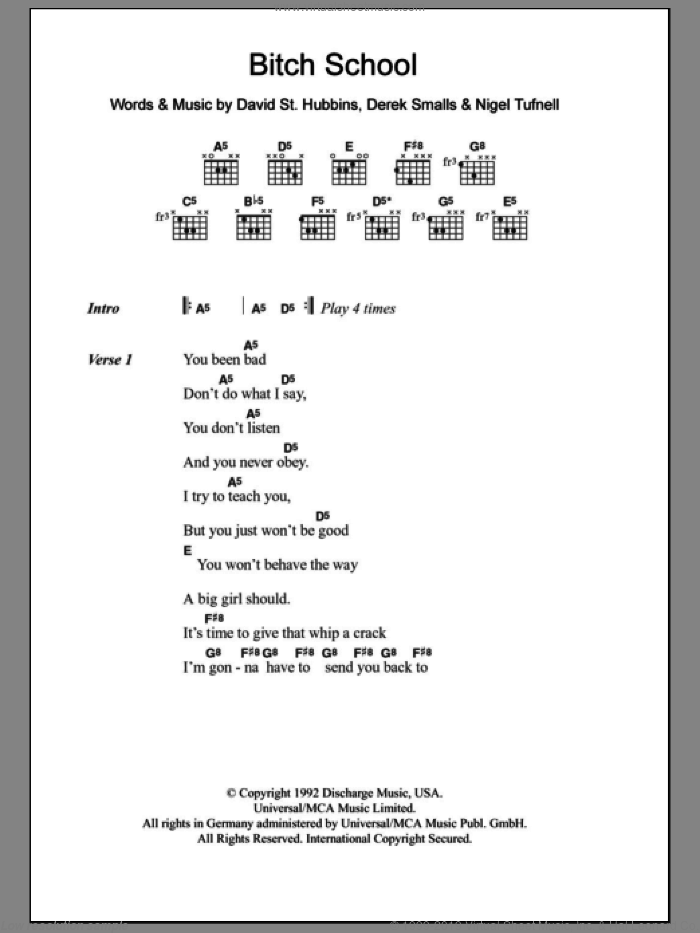 Bitch School sheet music for guitar (chords) by Spinal Tap. Score Image Preview.