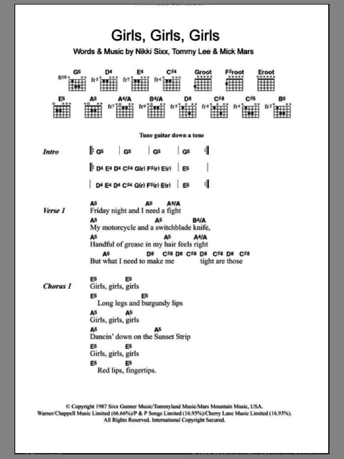 Girls, Girls, Girls sheet music for guitar (chords) by Motley Crue, intermediate. Score Image Preview.