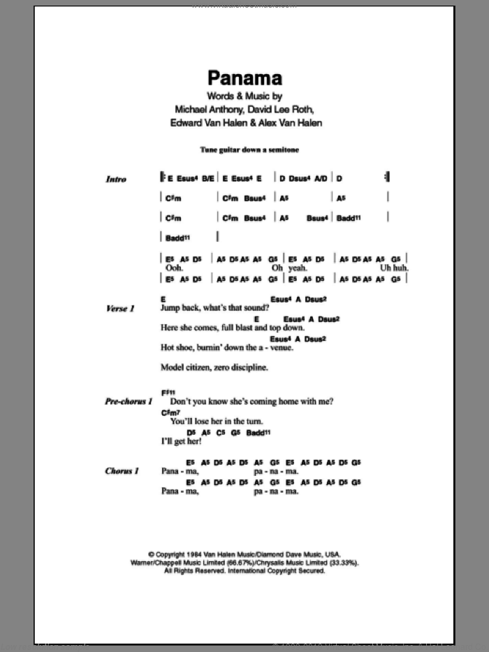 Panama sheet music for guitar (chords) by Michael Anthony, Alex Van Halen, David Lee Roth and Edward Van Halen. Score Image Preview.
