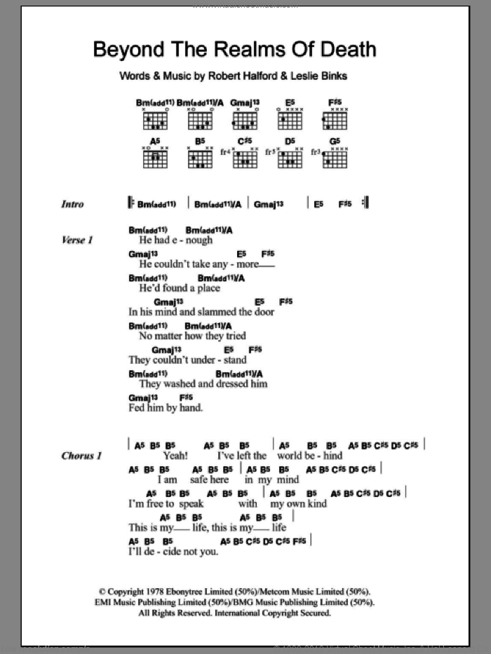Beyond The Realms Of Death sheet music for guitar (chords) by Judas Priest, Leslie Binks and Rob Halford, intermediate skill level