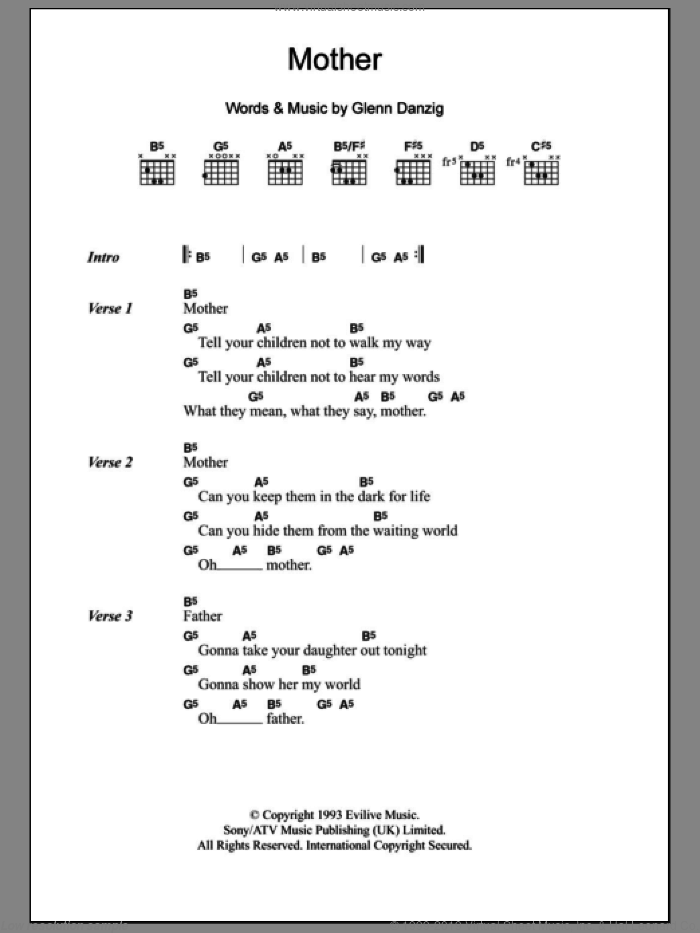 Mother sheet music for guitar (chords) by Glenn Danzig. Score Image Preview.