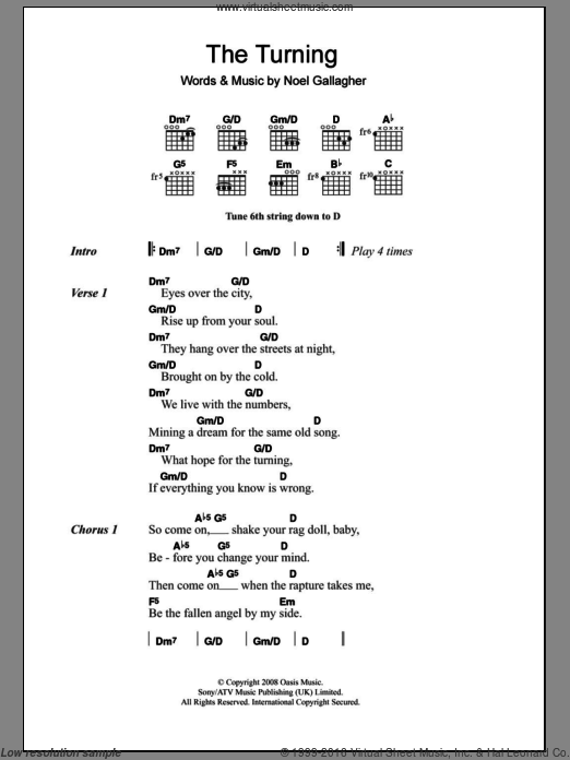 The Turning sheet music for voice, piano or guitar by Oasis and Noel Gallagher, intermediate. Score Image Preview.