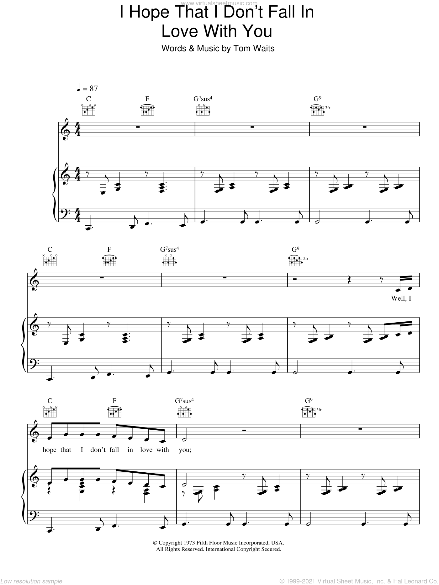 I Hope That I Don't Fall In Love With You sheet music for voice, piano or guitar by Tom Waits. Score Image Preview.