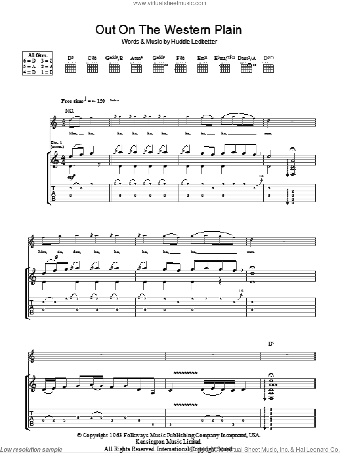 Out On The Western Plains sheet music for guitar (tablature) by Huddie Ledbetter