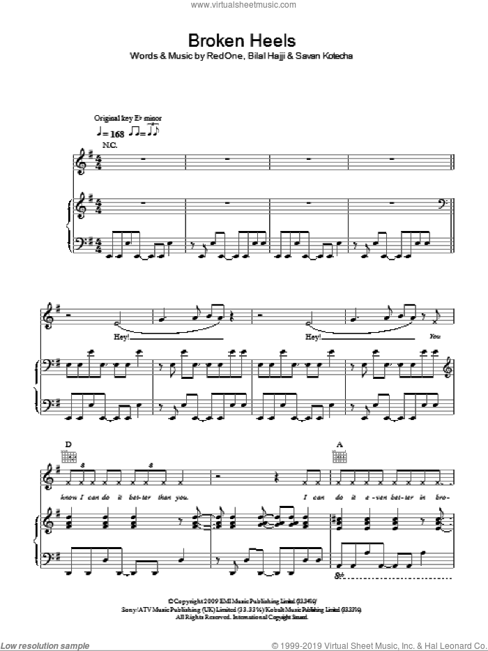 Broken Heels sheet music for voice, piano or guitar by Savan Kotecha, Alexandra Burke and RedOne. Score Image Preview.