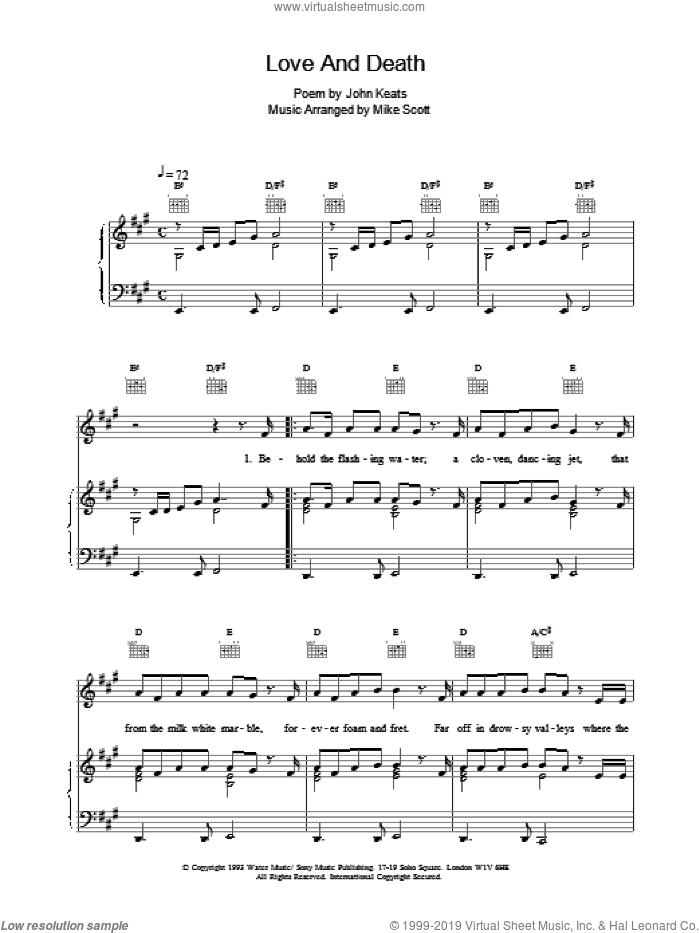 Love And Death sheet music for voice, piano or guitar by Mike Scott