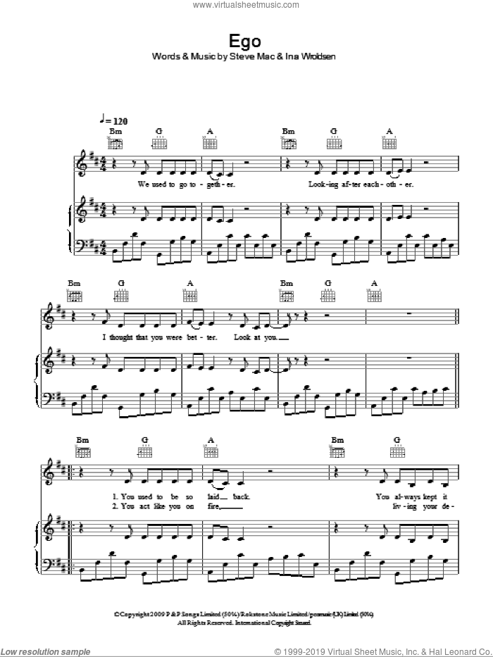 Ego sheet music for voice, piano or guitar by Steve Mac and Ina Wroldsen. Score Image Preview.