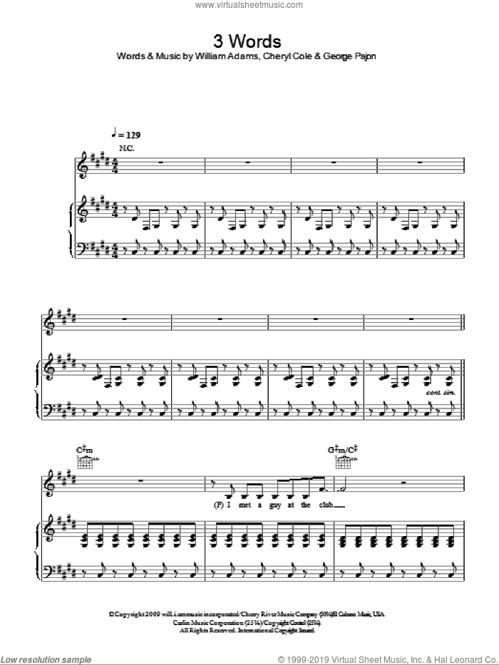 3 Words sheet music for voice, piano or guitar by Will Adams