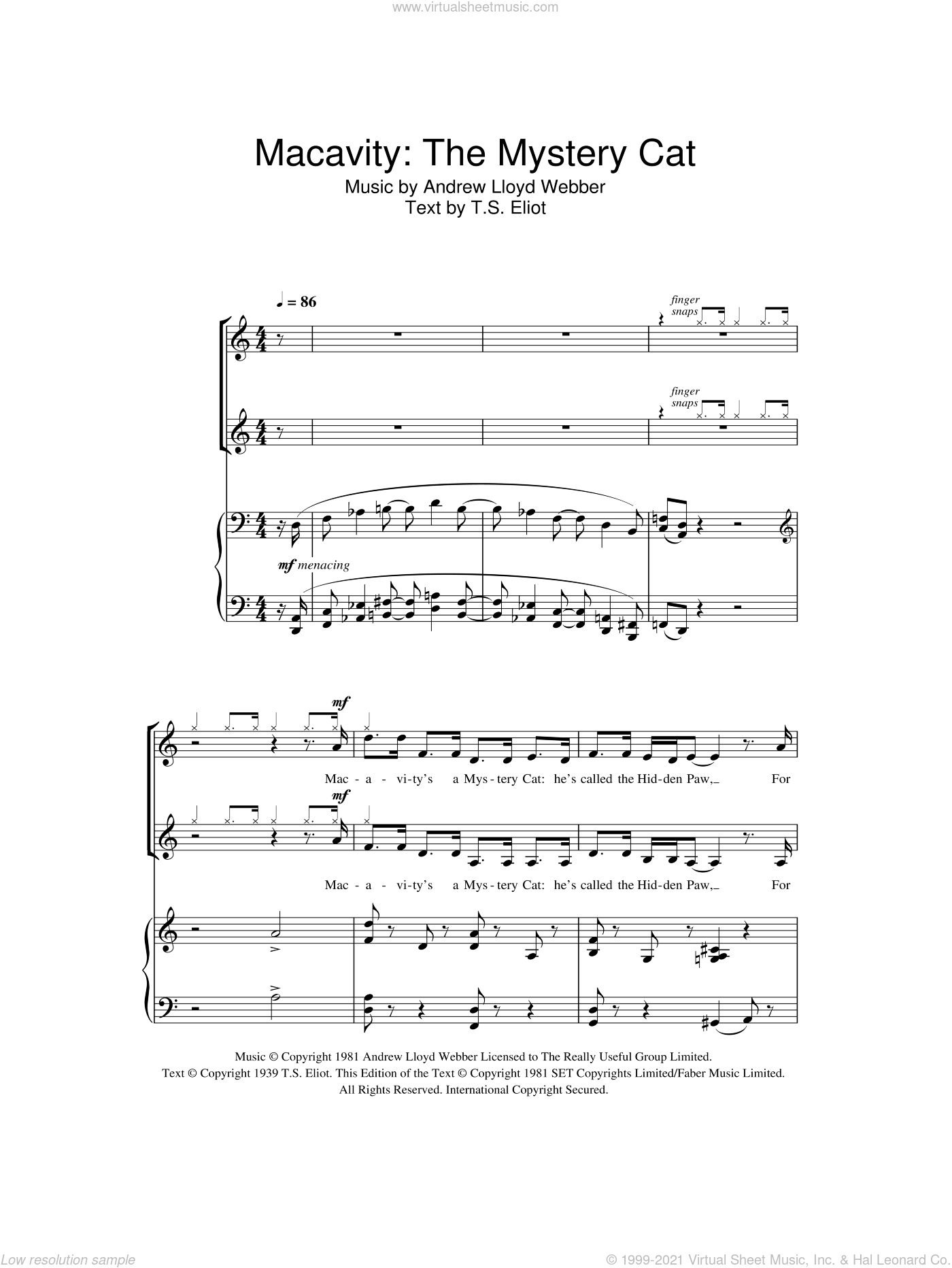 Macavity: The Mystery Cat (from Cats) sheet music for choir (2-Part) by Andrew Lloyd Webber and T.S. Eliot, intermediate duet