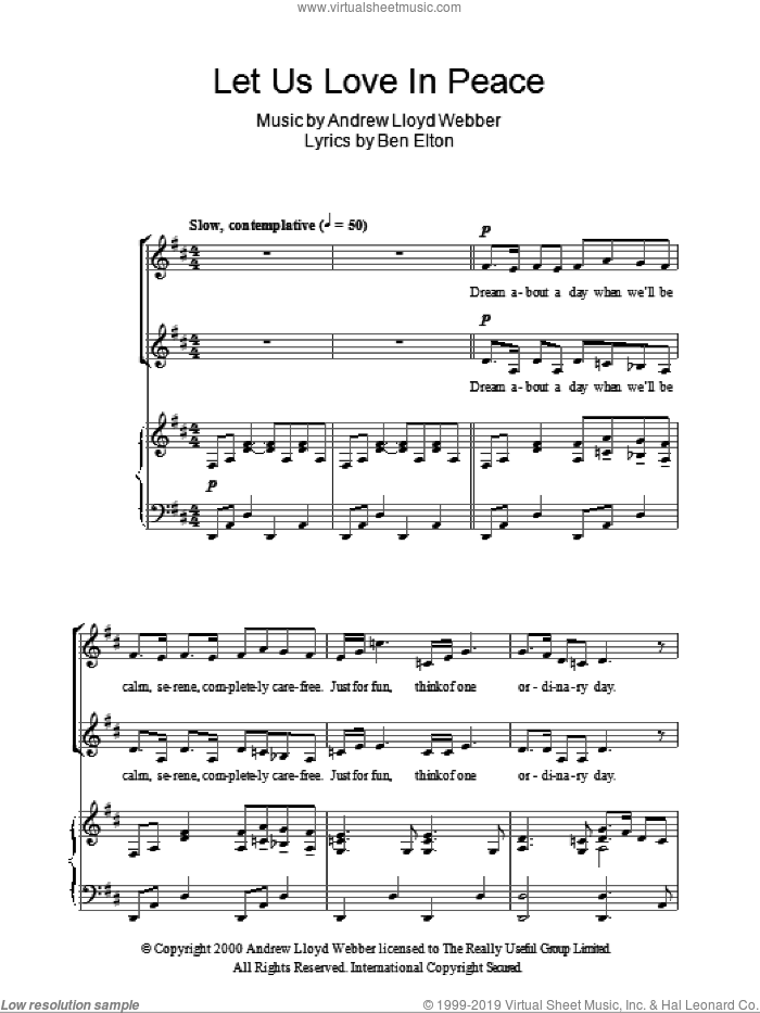 Let Us Love In Peace sheet music for choir (2-Part) by Andrew Lloyd Webber and Ben Elton, intermediate duet