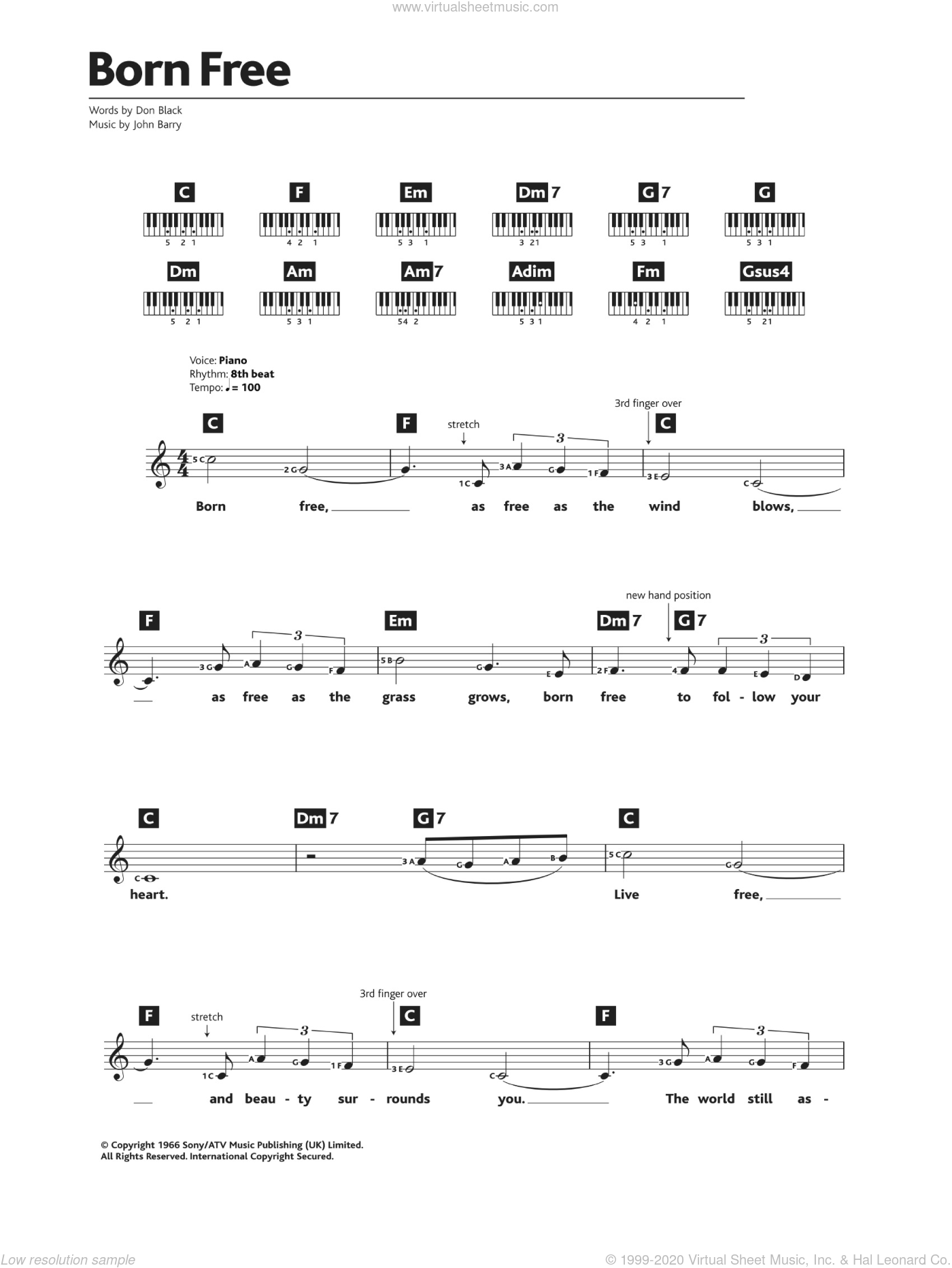 Born Free sheet music for piano solo (chords, lyrics, melody) by John Barry, Matt Monro and Don Black. Score Image Preview.