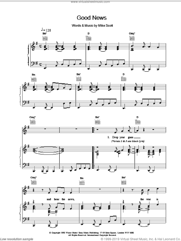 Good News sheet music for voice, piano or guitar by Mike Scott