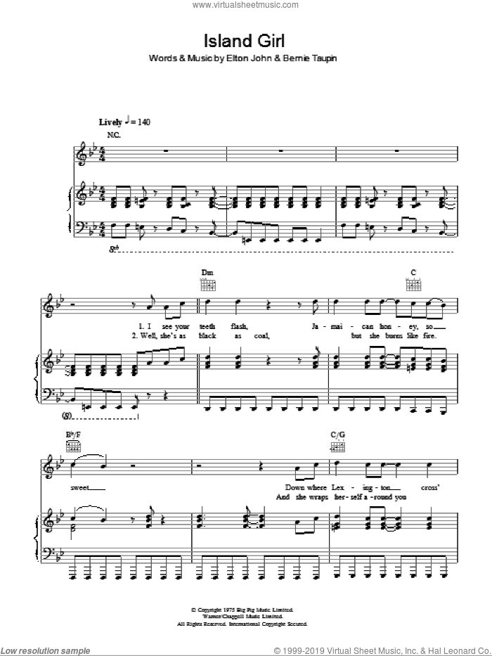 Island Girl sheet music for voice, piano or guitar by Bernie Taupin and Elton John. Score Image Preview.