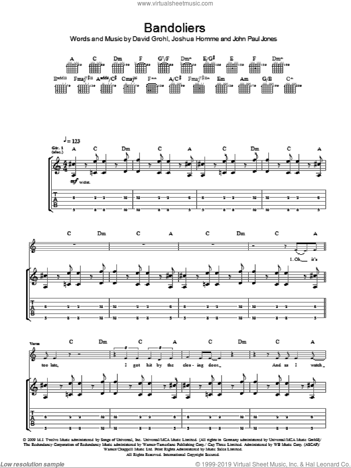 Bandoliers sheet music for guitar (tablature) by Josh Homme, Dave Grohl and John Paul Jones. Score Image Preview.