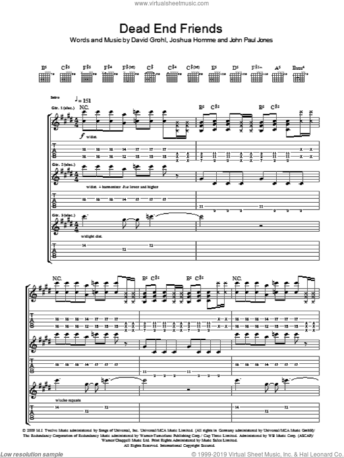 Dead End Friends sheet music for guitar (tablature) by Josh Homme, Dave Grohl and John Paul Jones. Score Image Preview.