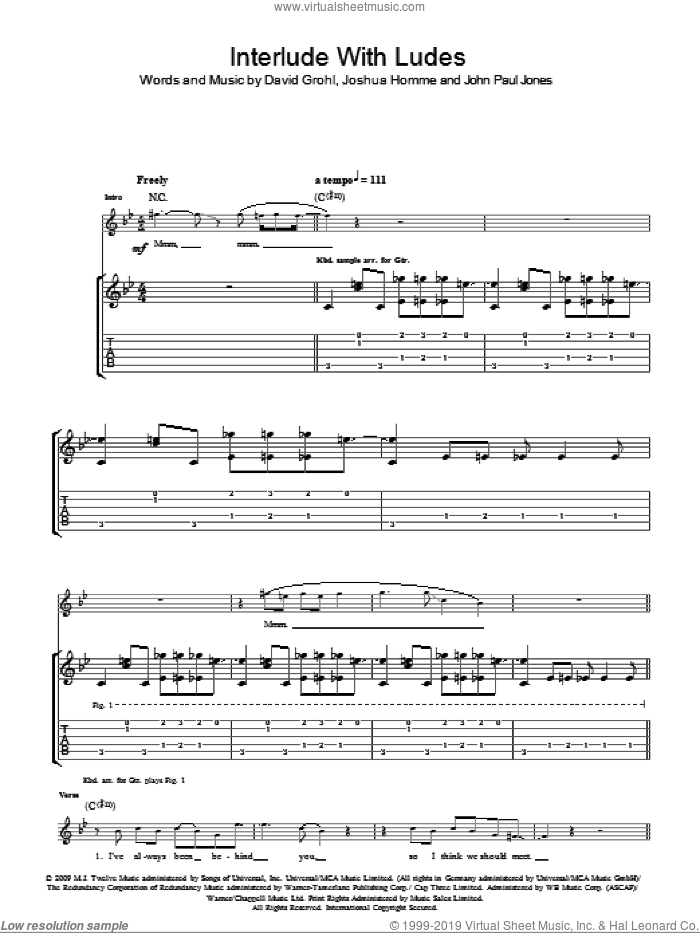 Interlude With Ludes sheet music for guitar (tablature) by Josh Homme, Dave Grohl and John Paul Jones. Score Image Preview.