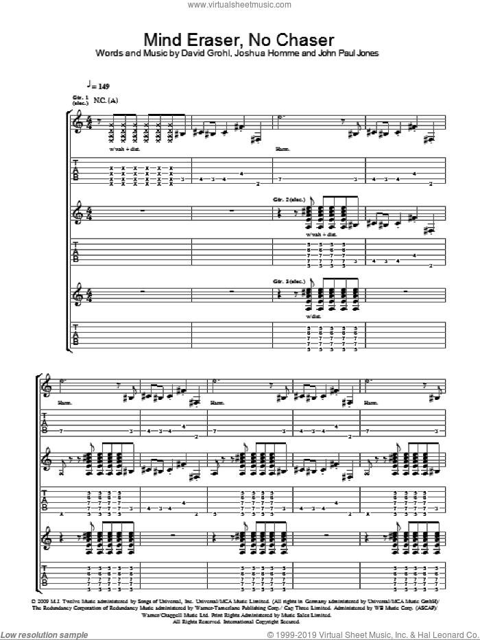 Mind Eraser, No Chaser sheet music for guitar (tablature) by Them Crooked Vultures and John Paul Jones. Score Image Preview.