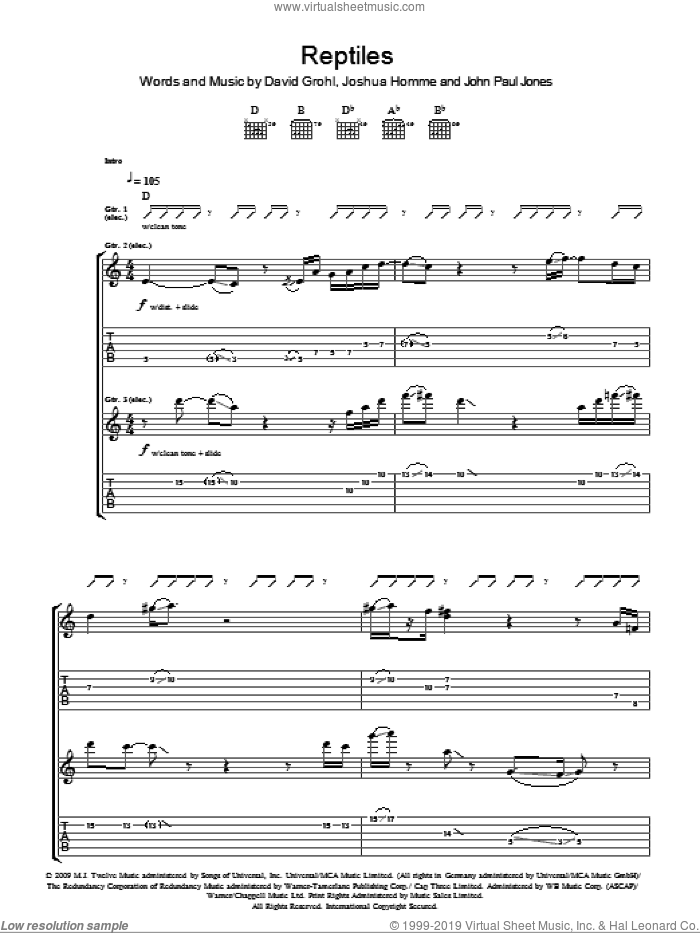 Reptiles sheet music for guitar (tablature) by Them Crooked Vultures, Dave Grohl, John Paul Jones and Josh Homme, intermediate skill level