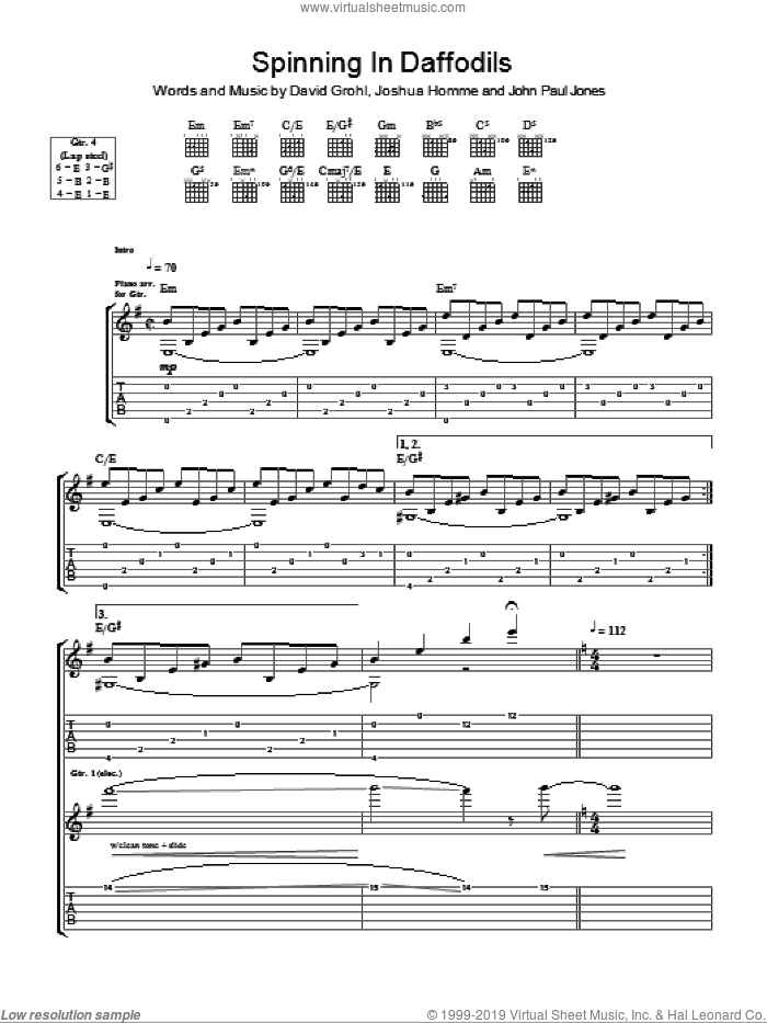 Spinning In Daffodils sheet music for guitar (tablature) by Them Crooked Vultures and John Paul Jones. Score Image Preview.