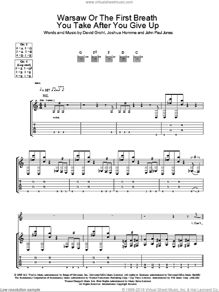 Warsaw Or The First Breath You Take After You Give Up sheet music for guitar (tablature) by Them Crooked Vultures, Dave Grohl, John Paul Jones and Josh Homme, intermediate. Score Image Preview.