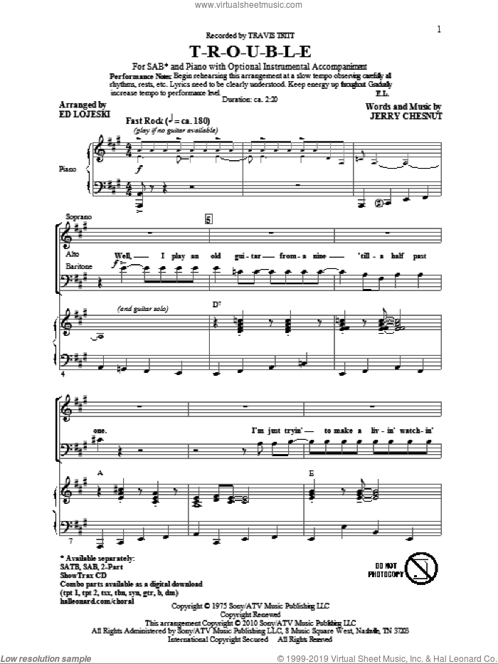 T-R-O-U-B-L-E sheet music for choir (SAB: soprano, alto, bass) by Ed Lojeski, Jerry Chesnut, Elvis Presley and Travis Tritt, intermediate skill level