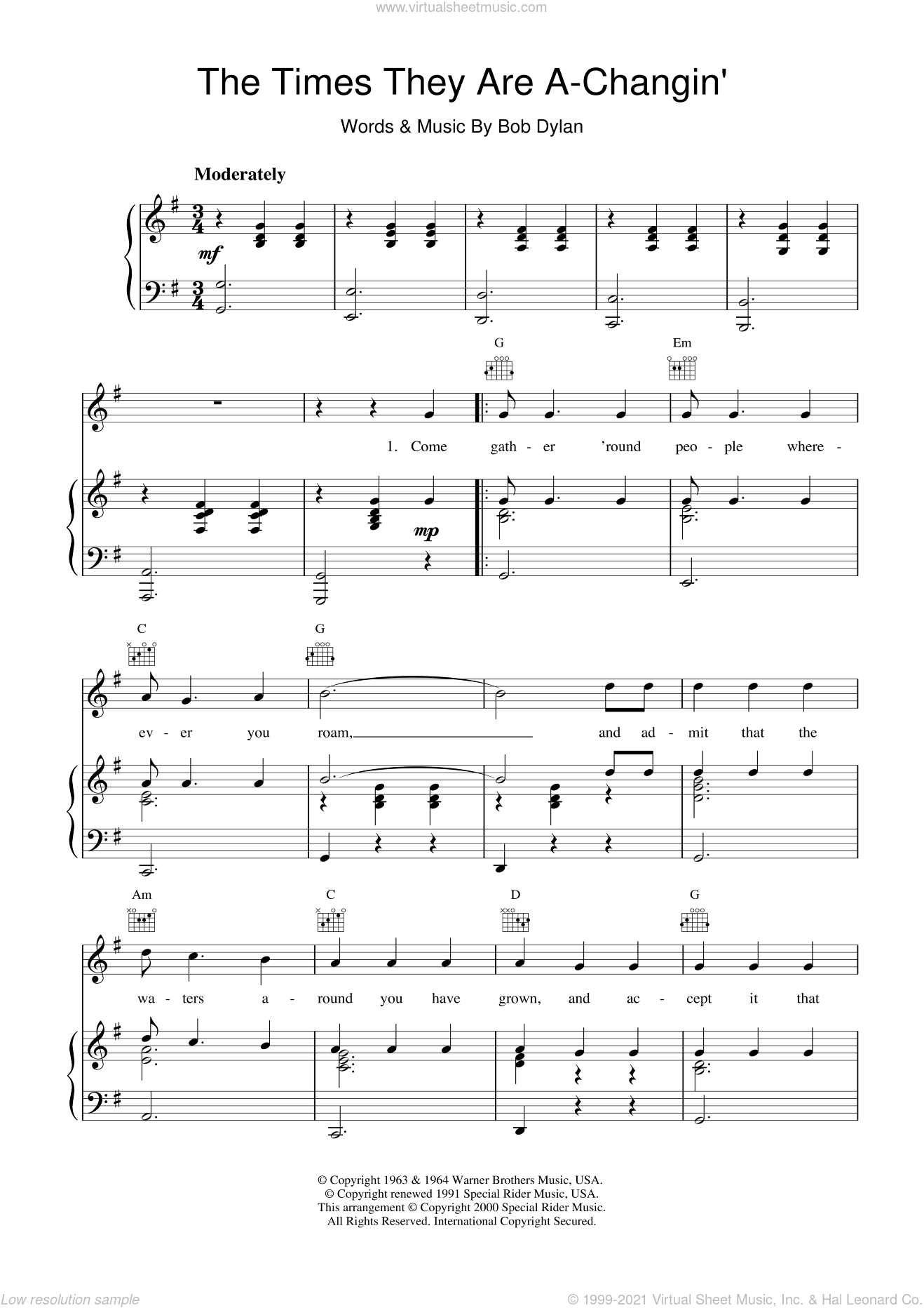 The Times They Are A-Changin' sheet music for voice, piano or guitar by Bob Dylan, intermediate skill level