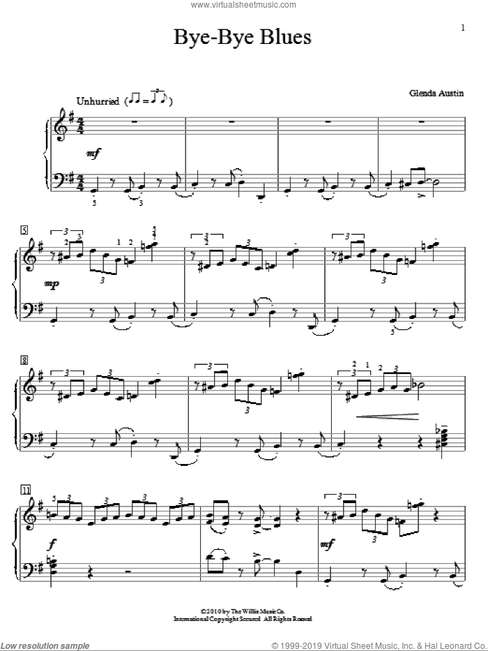 Bye-Bye Blues sheet music for piano solo (elementary) by Glenda Austin, beginner piano (elementary). Score Image Preview.