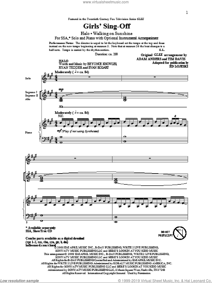 Girls' Sing-Off (from Glee) sheet music for choir (SSA: soprano, alto) by Glee Cast, Adam Anders, Ed Lojeski, Miscellaneous and Tim Davis, intermediate