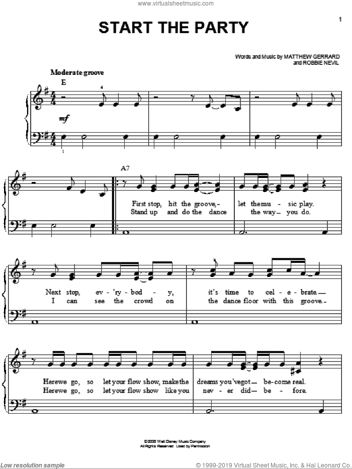 Start The Party sheet music for piano solo by Jordan Francis, Camp Rock (Movie), Jonas Brothers, Matthew Gerrard and Robbie Nevil, easy skill level