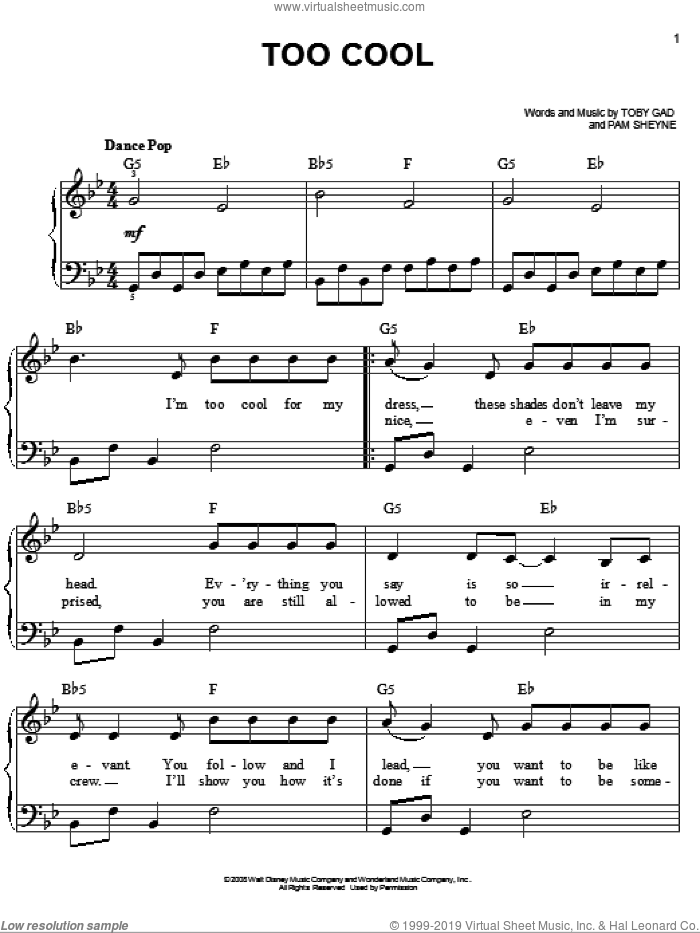 Too Cool sheet music for piano solo by Meaghan Martin, Camp Rock (Movie), Jonas Brothers, Pam Sheyne and Toby Gad, easy. Score Image Preview.