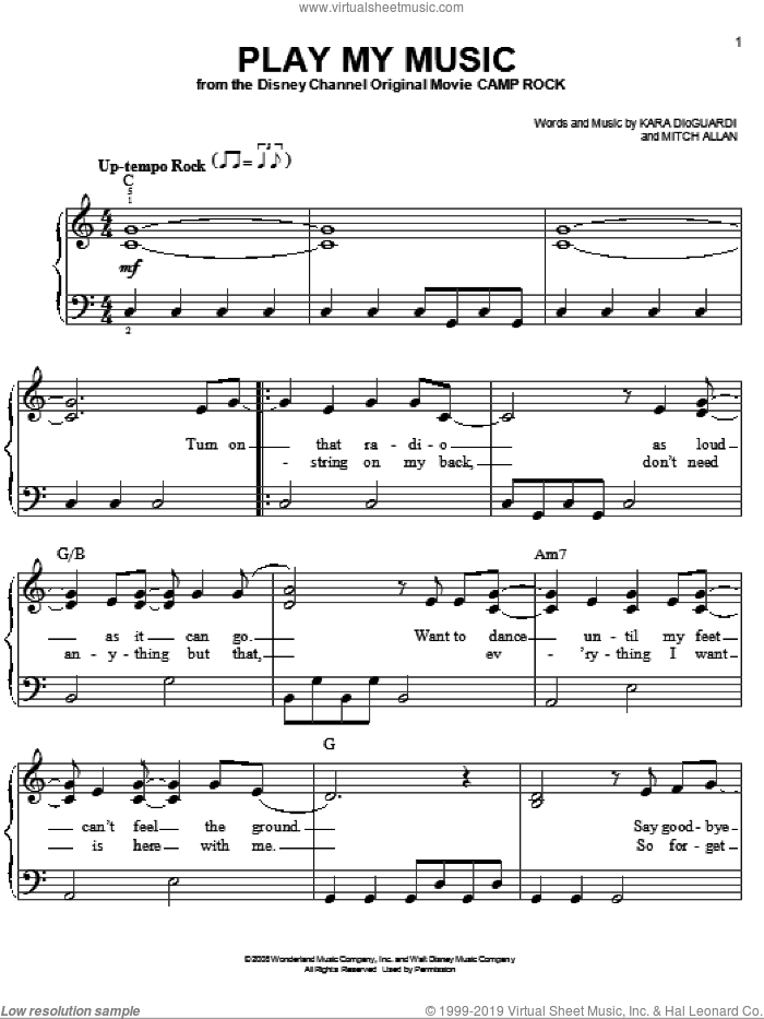 Play My Music sheet music for piano solo by Jonas Brothers, Camp Rock (Movie), Kara DioGuardi and Mitch Allan, easy piano. Score Image Preview.