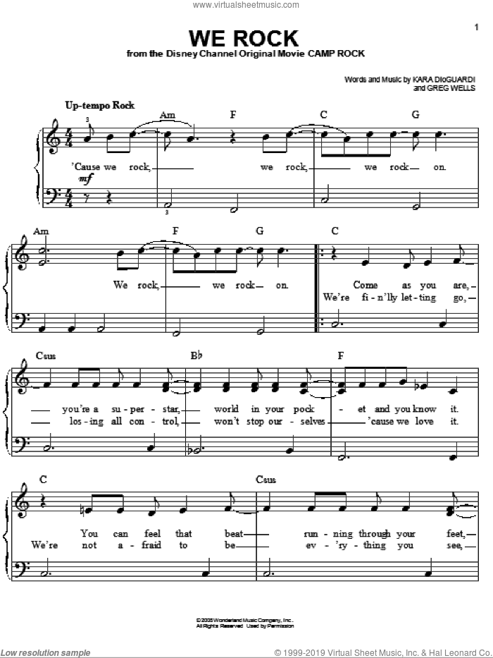 We Rock sheet music for piano solo by Greg Wells and Kara DioGuardi. Score Image Preview.