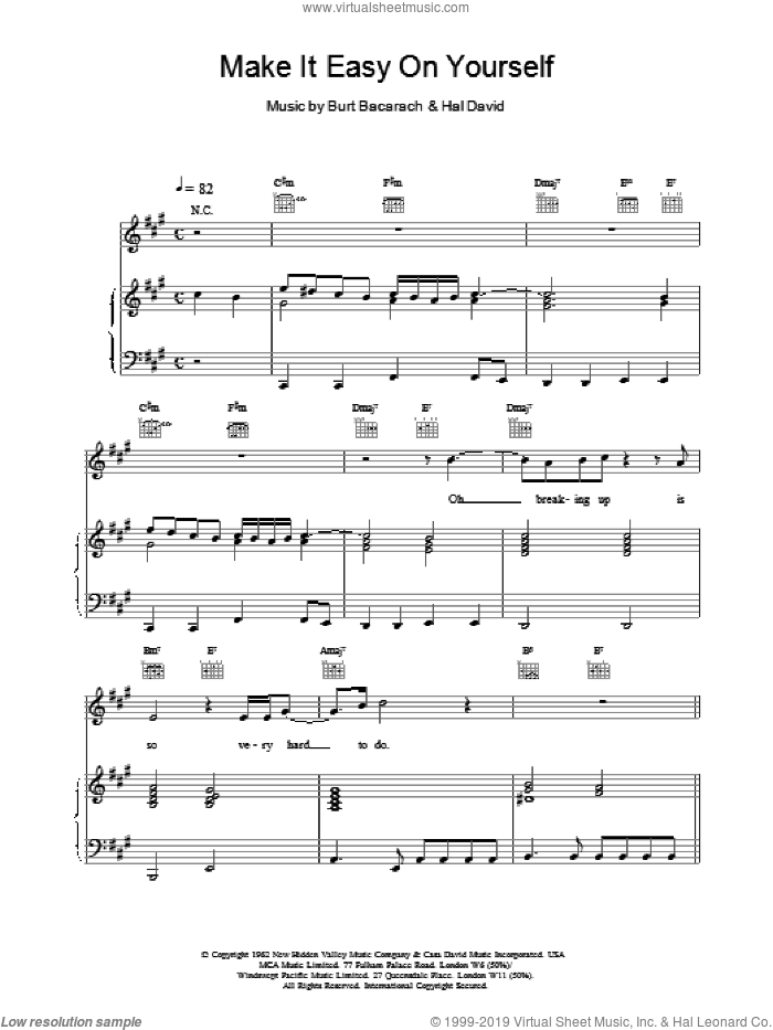 Make It Easy On Yourself sheet music for voice, piano or guitar by Hal David and Burt Bacharach. Score Image Preview.