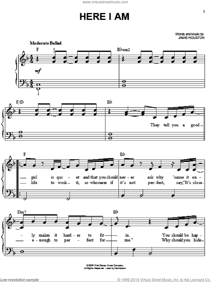 Here I Am sheet music for piano solo by Renee Sandstrom, Camp Rock (Movie), Jonas Brothers and Jamie Houston, easy skill level