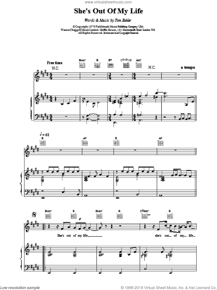 She's Out Of My Life sheet music for voice, piano or guitar by Michael Jackson and TOM BAHLER. Score Image Preview.