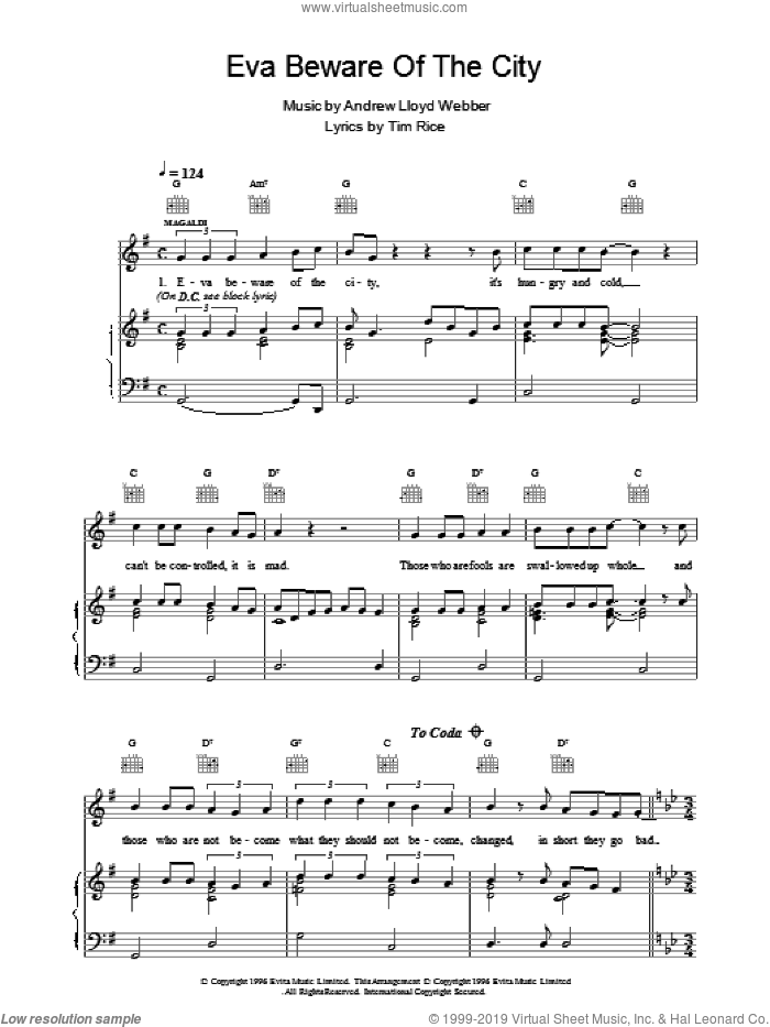 Eva Beware Of The City sheet music for voice, piano or guitar by Andrew Lloyd Webber and Tim Rice, intermediate. Score Image Preview.