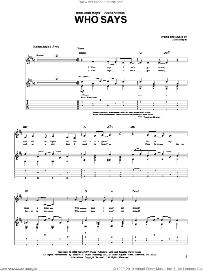 Who Says sheet music for guitar (tablature) by John Mayer. Score Image Preview.