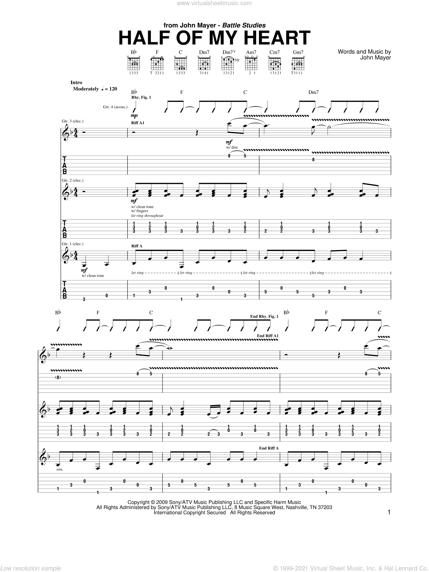 Half Of My Heart sheet music for guitar (tablature) by John Mayer featuring Taylor Swift, Taylor Swift and John Mayer, intermediate. Score Image Preview.