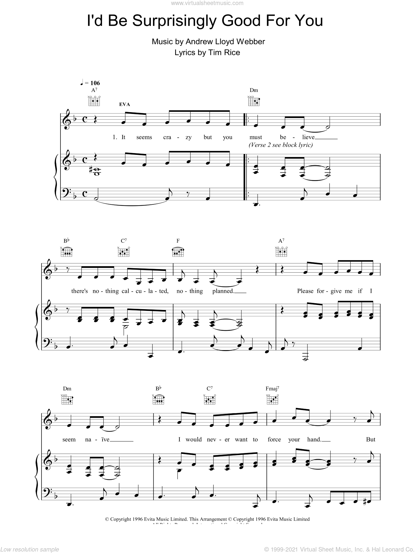 I'd Be Surprisingly Good For You sheet music for voice, piano or guitar by Tim Rice and Andrew Lloyd Webber. Score Image Preview.