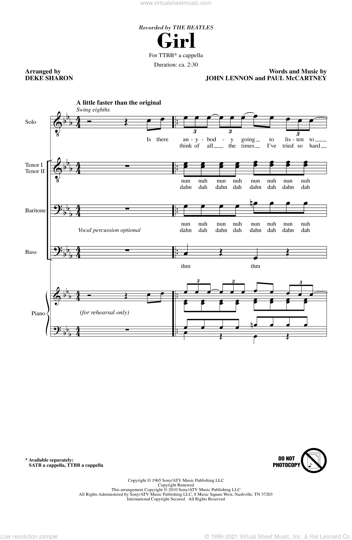 Girl sheet music for choir (tenor voice, bass voice, choir) by John Lennon, Paul McCartney, Deke Sharon and The Beatles. Score Image Preview.