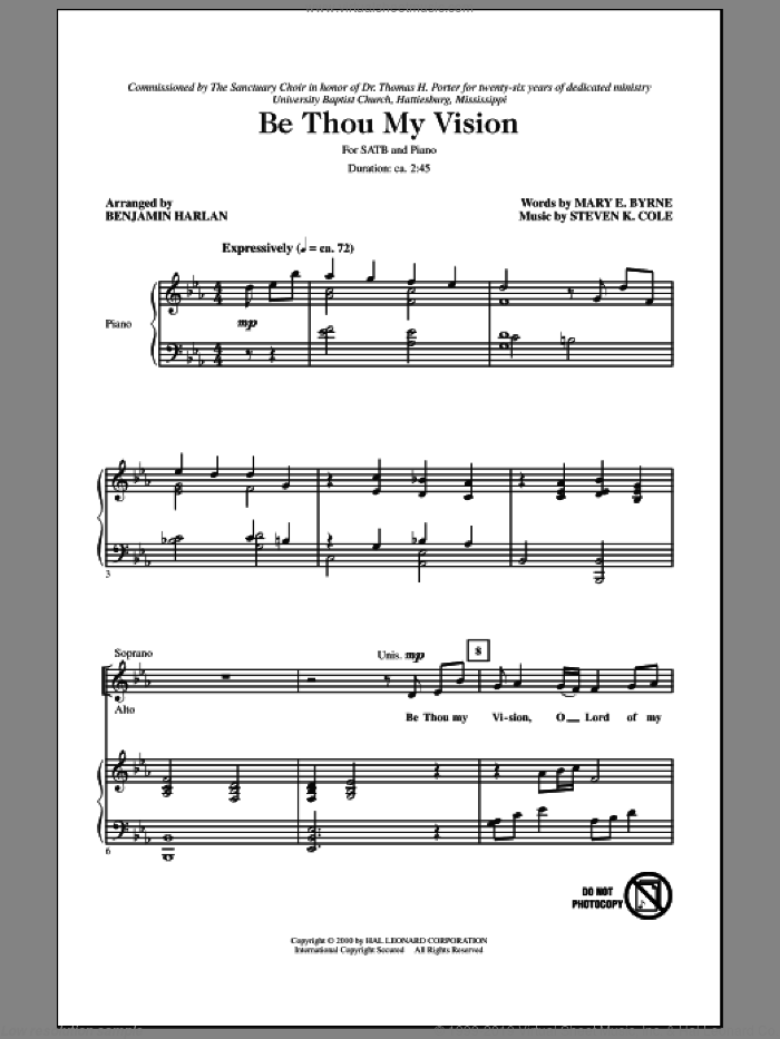 Be Thou My Vision sheet music for choir (SATB: soprano, alto, tenor, bass) by Benjamin Harlan, Mary E. Byrne and Steven Cole, intermediate skill level