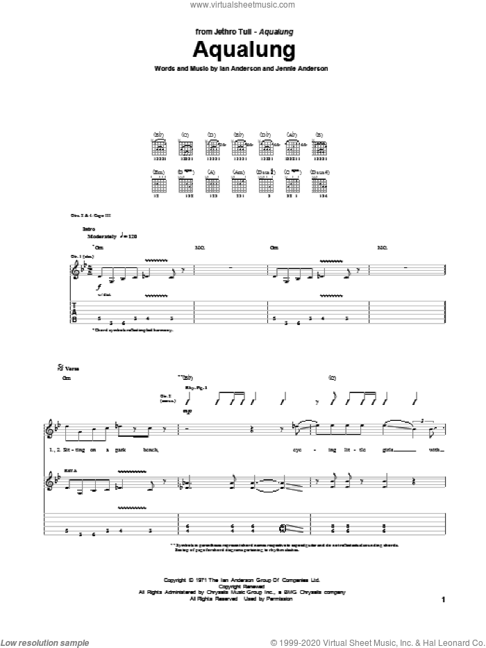 Aqualung sheet music for guitar solo (tablature) by Jennie Anderson