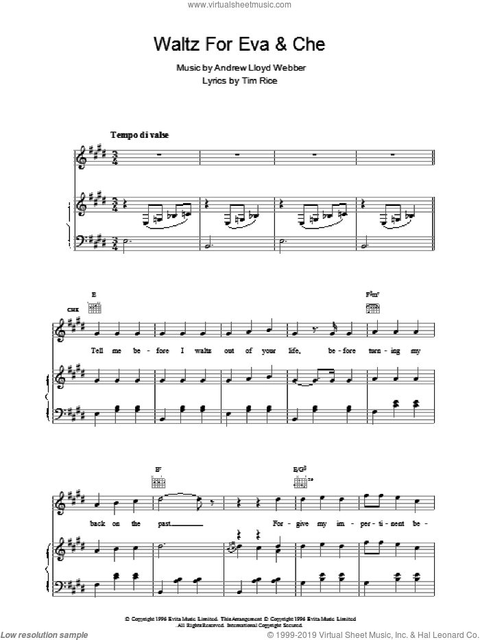 Waltz For Eva And Che sheet music for voice, piano or guitar by Andrew Lloyd Webber, Evita (Musical) and Tim Rice, intermediate skill level