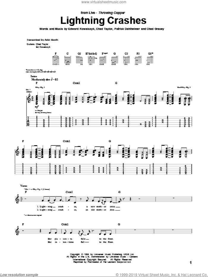 Lightning Crashes sheet music for guitar (tablature) by Live, Chad Gracey, Chad Taylor, Edward Kowalczyk and Patrick Dahlheimer, intermediate skill level