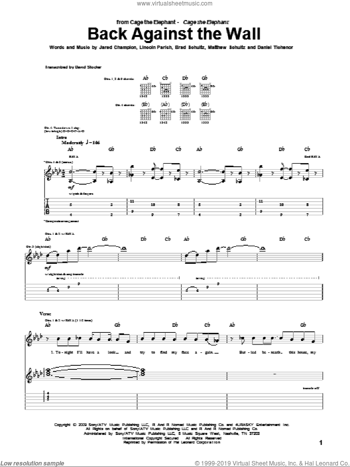 Back Against The Wall sheet music for guitar (tablature) by Cage The Elephant, Brad Schultz, Daniel Tichenor, Donald Schultz, Jared Champion, Lincoln Parish and Matthew Schultz, intermediate skill level