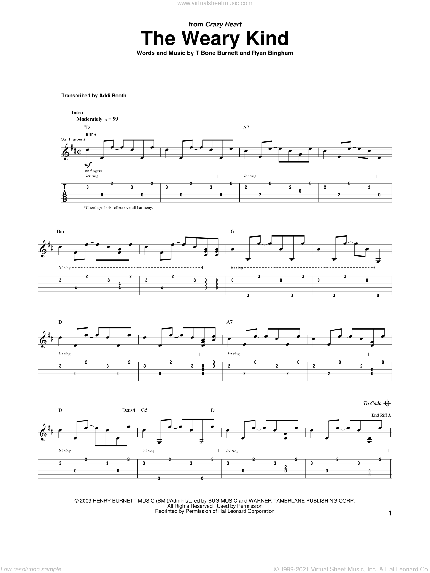The Weary Kind (Theme From Crazy Heart) sheet music for guitar (tablature) by Ryan Bingham and T-Bone Burnett. Score Image Preview.
