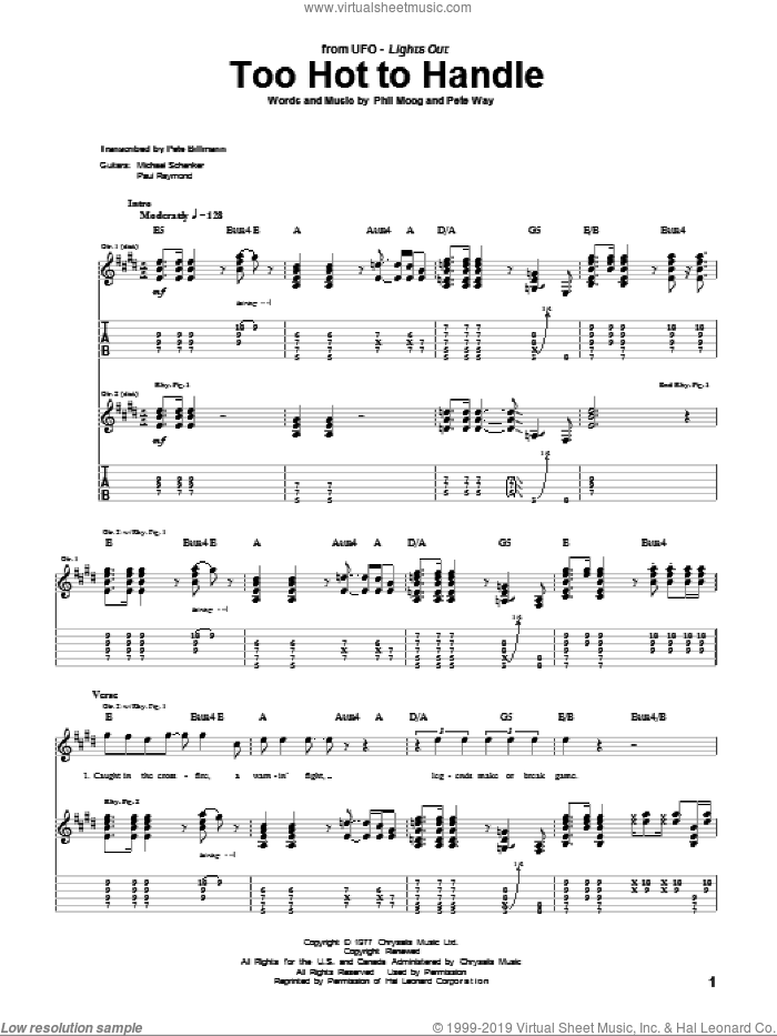 Too Hot To Handle sheet music for guitar (tablature) by Phil Moog and UFO. Score Image Preview.
