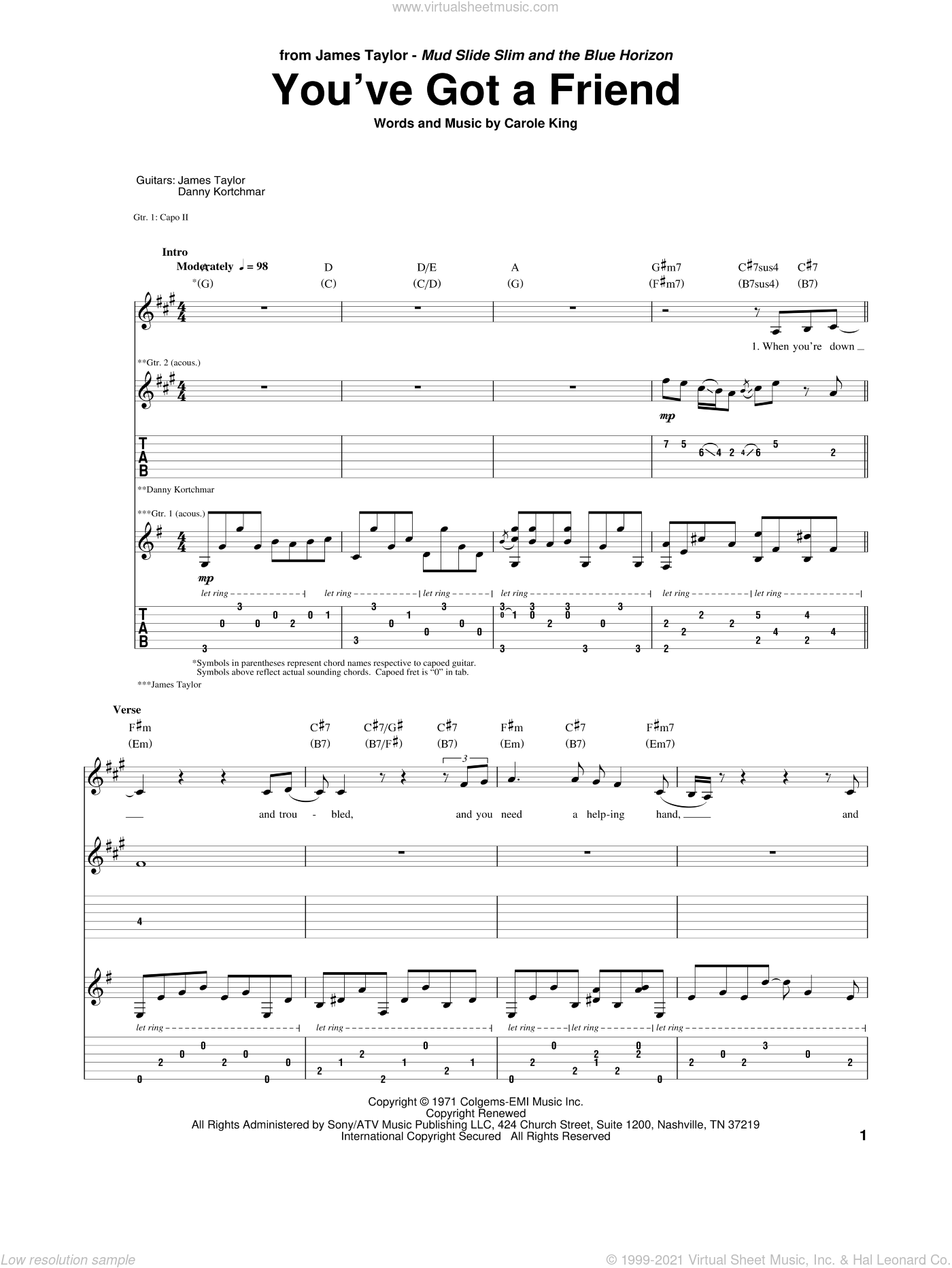 You've Got A Friend sheet music for guitar (tablature) by James Taylor